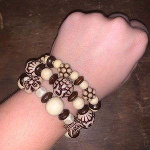Handcrafted Set of Bracelets w/ Wooden Designs